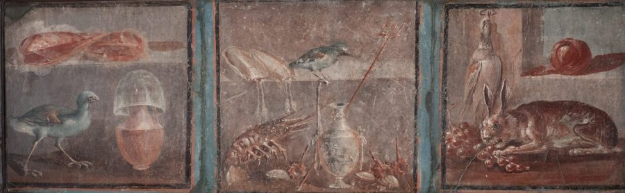 Triptych featuring images of various foods. Painted plaster. MANN 8760. ©The Superintendence for the Archaeological Heritage of Naples (SAHN).