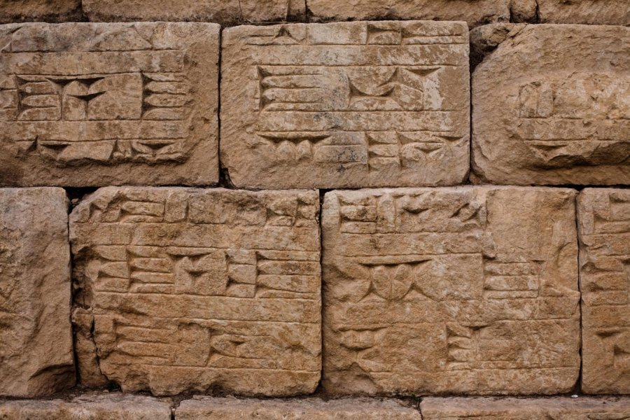 JERWAN, IRAQ: Cuneiform writing on the stones of the aqueduct at Jerwan in Iraqi Kurdistan. Constructed between 703 and 690 BC, by Sanherib (Sennecherib) of Assyria, the Jerwan Aqueduct (he oldest intact aqueduct in the world) delivered water in the Atrush Canal from the Khenis (Gomel) Gorge to the Khosr River above Nineveh. The canal used advanced techniques including sluice gates and the Jerwan aqueduct - a 275 m/900 ft limestone bridge, 9 m/30 ft high and 15 m/30 ft wide. Photo by Sebastian Meyer www.sebmeyer.com sebastian@sebmeyer.com +964 750 792 2163
