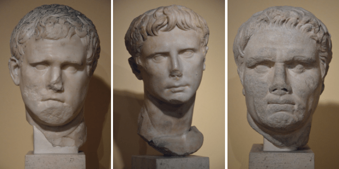 Portrait of Marcus Vispanius Agrippa, Augustus and of a a political personality (possibly Mark Antony), Centrale Montemartini, Rome museum. Photo © Carole Raddato.
