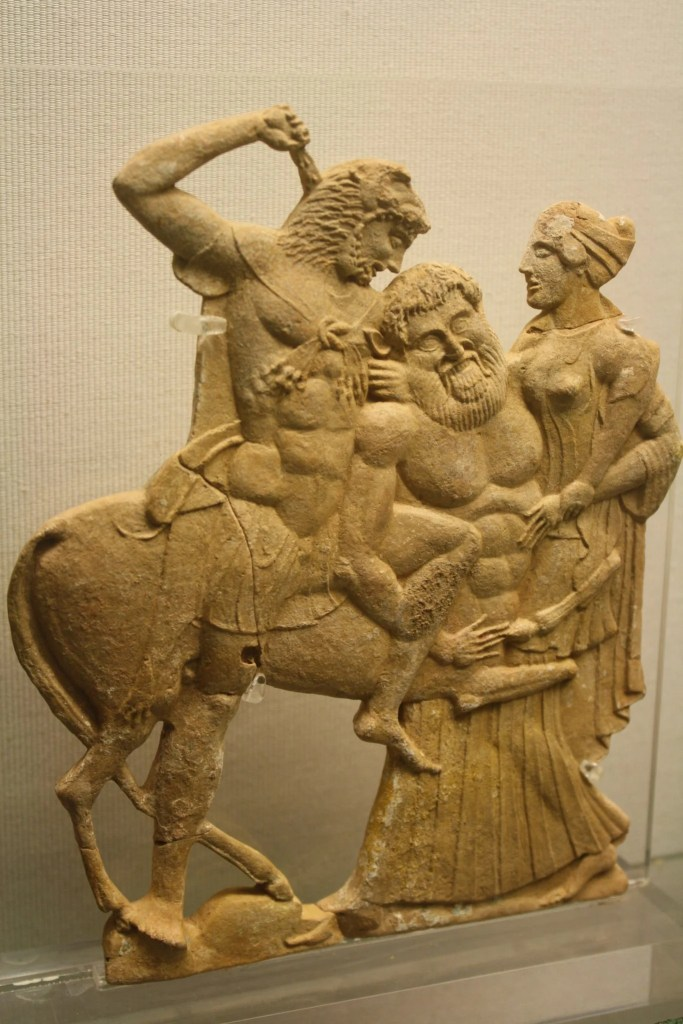 The 'Melian' relief of Hercules killing the centaur Nessos. 5th century BCE.
