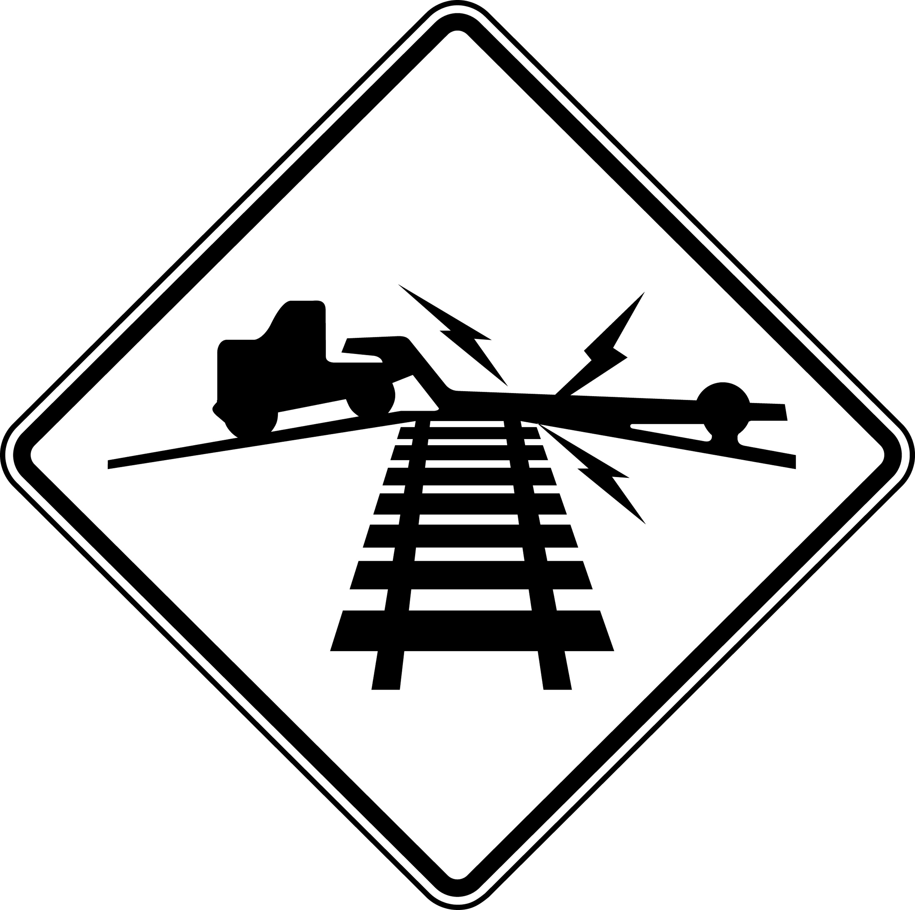 Road Crossing Clipart Black And White Low Ground Clearance Highway Rail Grade Crossing Black