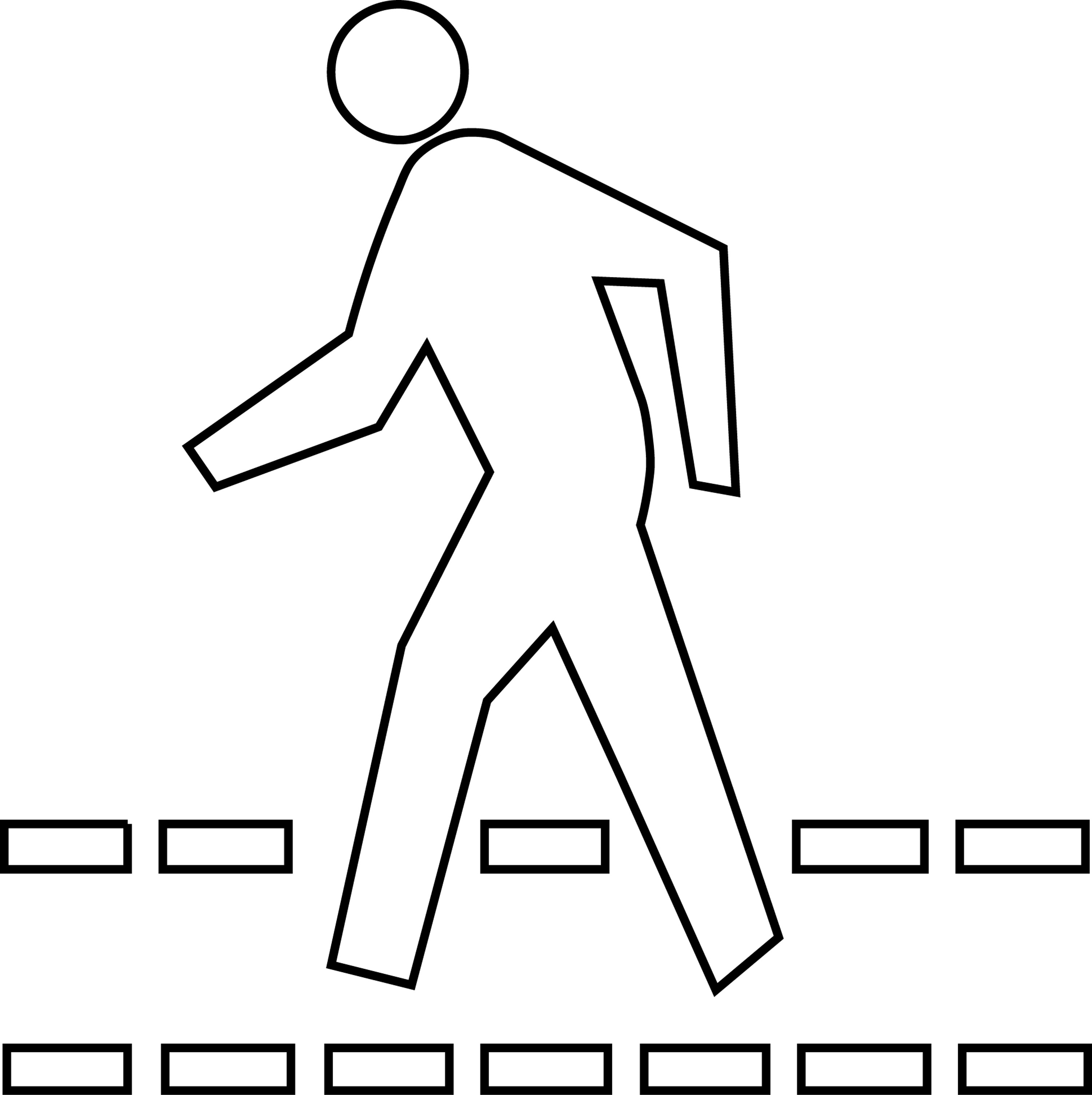 Road Crossing Clipart Black And White Ped Xing Outline Clipart Etc