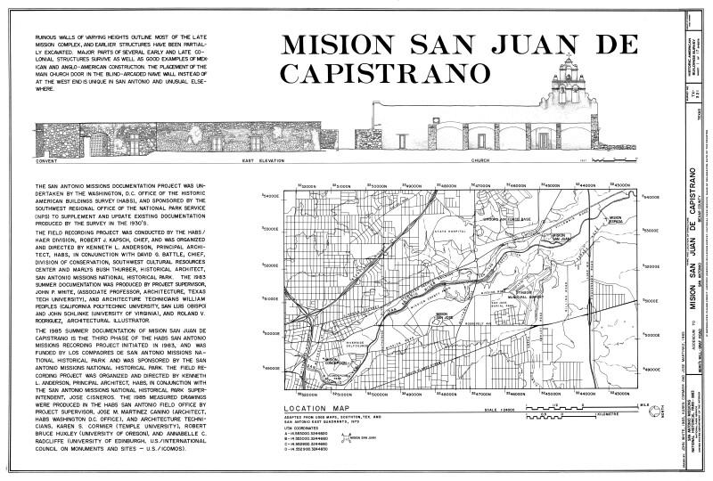 Mission San Juan de Capistrano Cover Sheet for 1983 Drawings