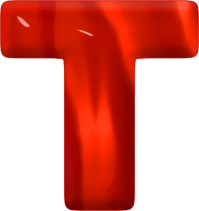 Presentation Alphabets: Red Glass Letter T