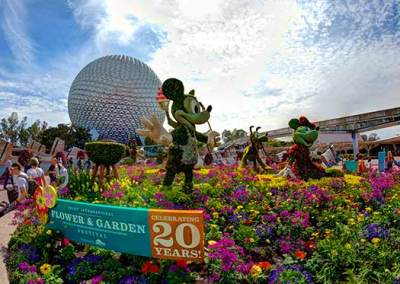 Mickey and pals greet you as you enter Epcot