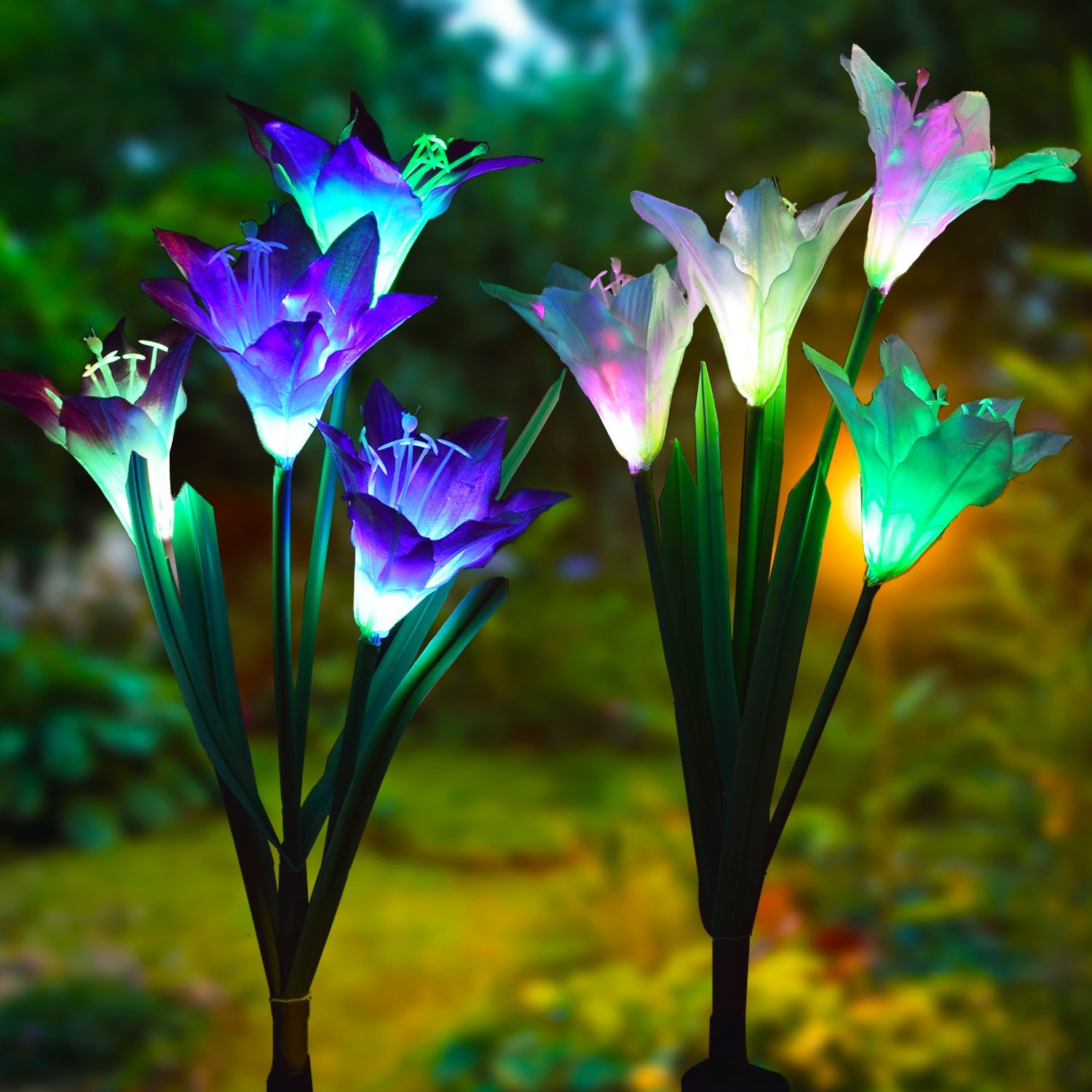 Led Solar Led Light Up Garden Flowers Solar Powered Garden Flower