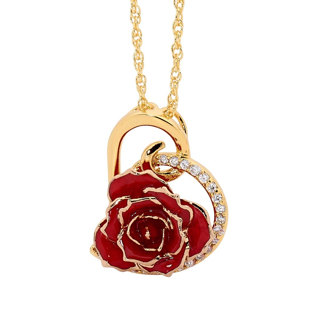 Rose Red Glazed Rose Heart Pendant 24k Gold