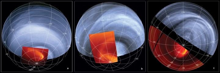 Mosaico: As áreas mais claras na imagem em infravermelho representam as temperaturas nas nuvens superiores (regiões escuras denotam temperaturas mais baixas). A figura oval que ressalta nestas imagens é o gigantesco olho de um furacão ou um vórtex polar no pólo sul de Vênus. Trata-se de uma estrutura com 2.000 km de diâmetro, em rotação em volta do pólo sul a cada 2,5 dias. A atmosfera gira no sentido anti-horário nesta figura. Créditos: VMC ultravioleta: ESA/MPS/DLR/IDA  VIRTIS infravermelho: ESA/VIRTIS/INAF-IASF/Obs. de Paris-LESIA