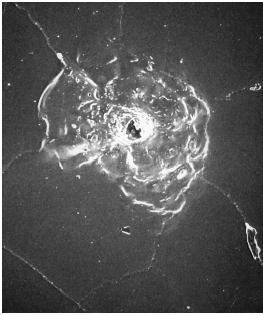Impacto na janela do ônibus espacial