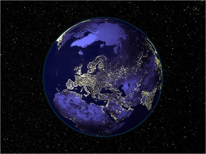 Europa, norte da África e Ásia Ocidental à noite