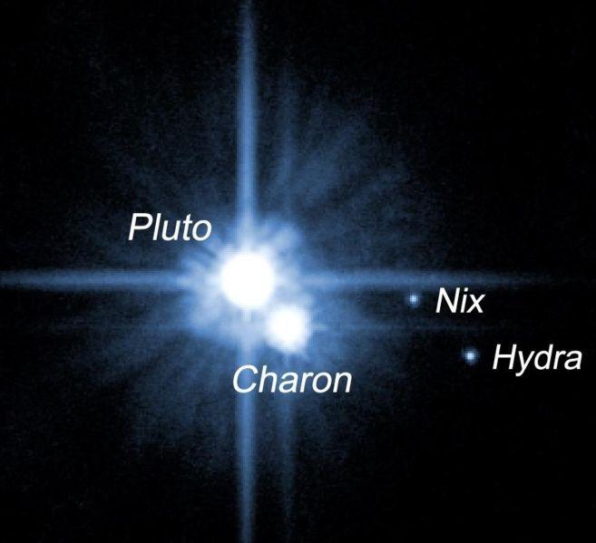 Plutão e suas 3 luas: Caronte, Nix e Hydra