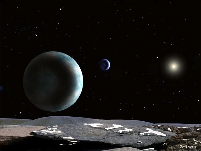Plutão e Caronte vistos da sua pequena lua Hydra, descoberta recentemente. Crédito: David Aguilar