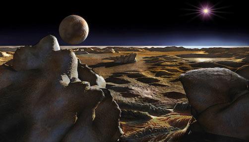 Compostos orgânicos avermelhados podem estar permeados na superfície criogênica de Plutão. Caronte, sua maior lua, brilha no céu. Crédito: Don Dixon (www.cosmographica.com)
