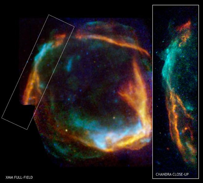 SN 185 foi uma supernova vista no ano de 185 DC, próxima a Alpha Centauri, entre as constelações de Circinus e Centaurus. A explosão foi observada e registrada pelos astrônomos chineses no livro de Han e na literatura romana. A supernova permaneceu visivel no céu noturno por 8 meses. Crédito: Telescópio Espacial Chandra