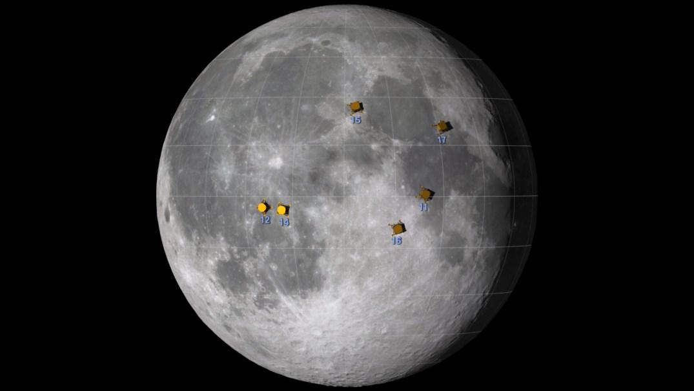 Locais de pouso das 6 missões Apollo. Dê um clique na imagem para ver animação em quicktime.