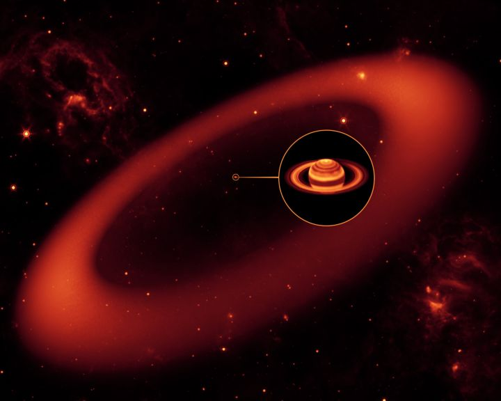 Esquema mostra as gigantescas dimensões do novo anel no sistema planetário de Saturno