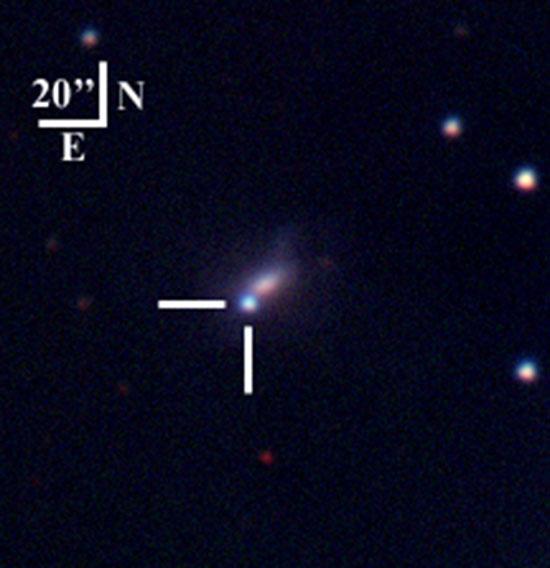 magem em cores falsas de SN2002bj, por cima da sua galáxia-mãe, NGC 1812. Crédito: D. Poznanski, W. Li e A.V. Filippenko