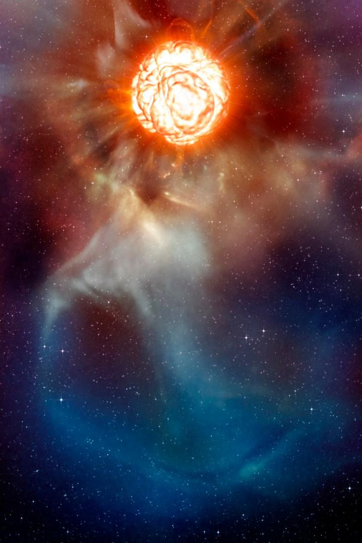 Chi Cygni, mostrada nesta concepção artística, é uma estrela gigante vermelha perto do final de sua vida. Conforme esgota seu combustível nuclear, ela pulsa de dentro para fora, como um gigantesco coração, ejetando no espaço suas camadas exteriores de matéria. Crédito: ESO/L. Calçada