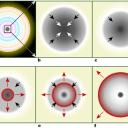Diagrama simplificado do cenário do colapso de núcleo estelar: (a) estrela massiva forma camadas de nucleossíntese dos elementos químicos em formato de cebola. A camada mais interior de Silício gera o núcleo estável de Ferro. (b) o núcleo de Ferro atinge o limite máximo de massa de Chandrasekhar e inicia o colapso, desabando e abrindo um vão dentro da estrela. (c) O núcleo interior é comprimido em nêutrons e a energia gravitacional é convertida em neutrinos. (d) Ondas de choque são formadas e se deslocam para fora do núcleo (vermelho). (e) As ondas de choque são revigoradas pela enxurrada de neutrinos. (f) Todas as camadas exteriores são expulsas para o espaço exterior, deixando apenas um núcleo degenerado de nêutrons, que formará uma 'estrela de nêutrons'.