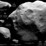 Emily Lakdawalla mostra painel com o 21 Lutetia e os demais cometas e asteróides já visitados por sondas espaciais