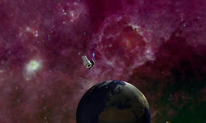 Concepção artística do telescópio orbital WISE. Crédito da ilustração: NASA (PIA12470)