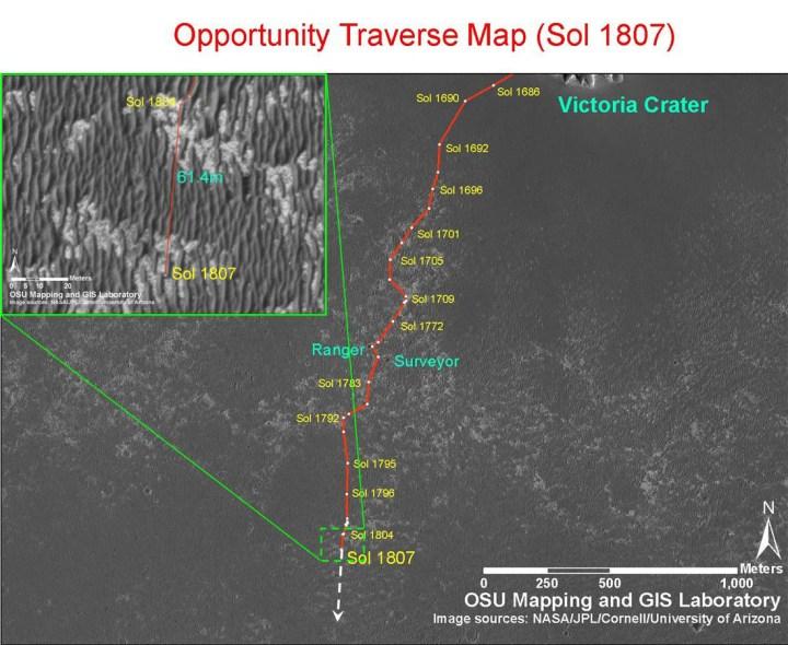 O caminho da Opportunity desde a cratera Victória (situação no 1807o. dia marciano da missão)
