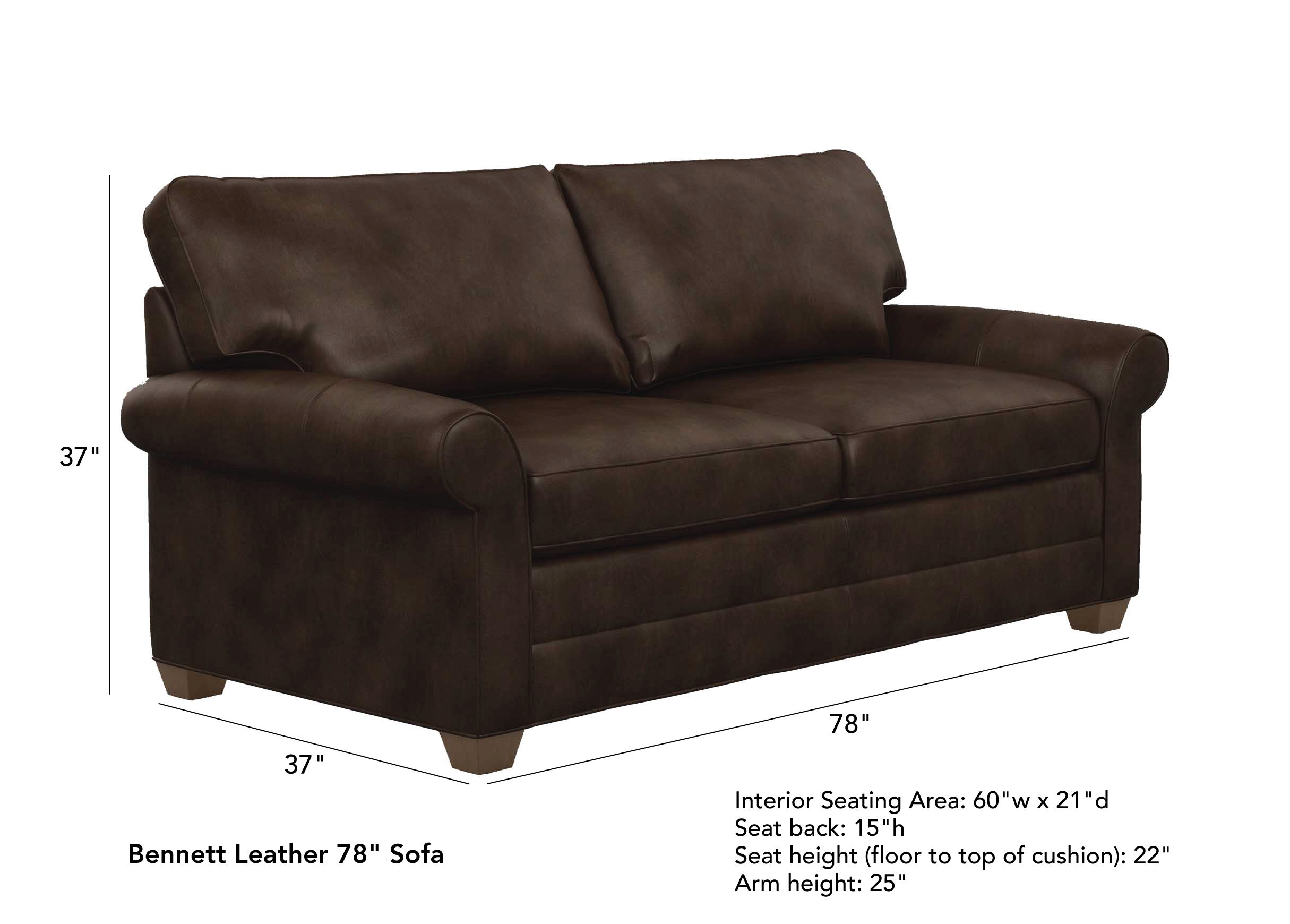 Sofa 60er Bennett Roll Arm Leather Sofa Quick Ship Sofas Loveseats