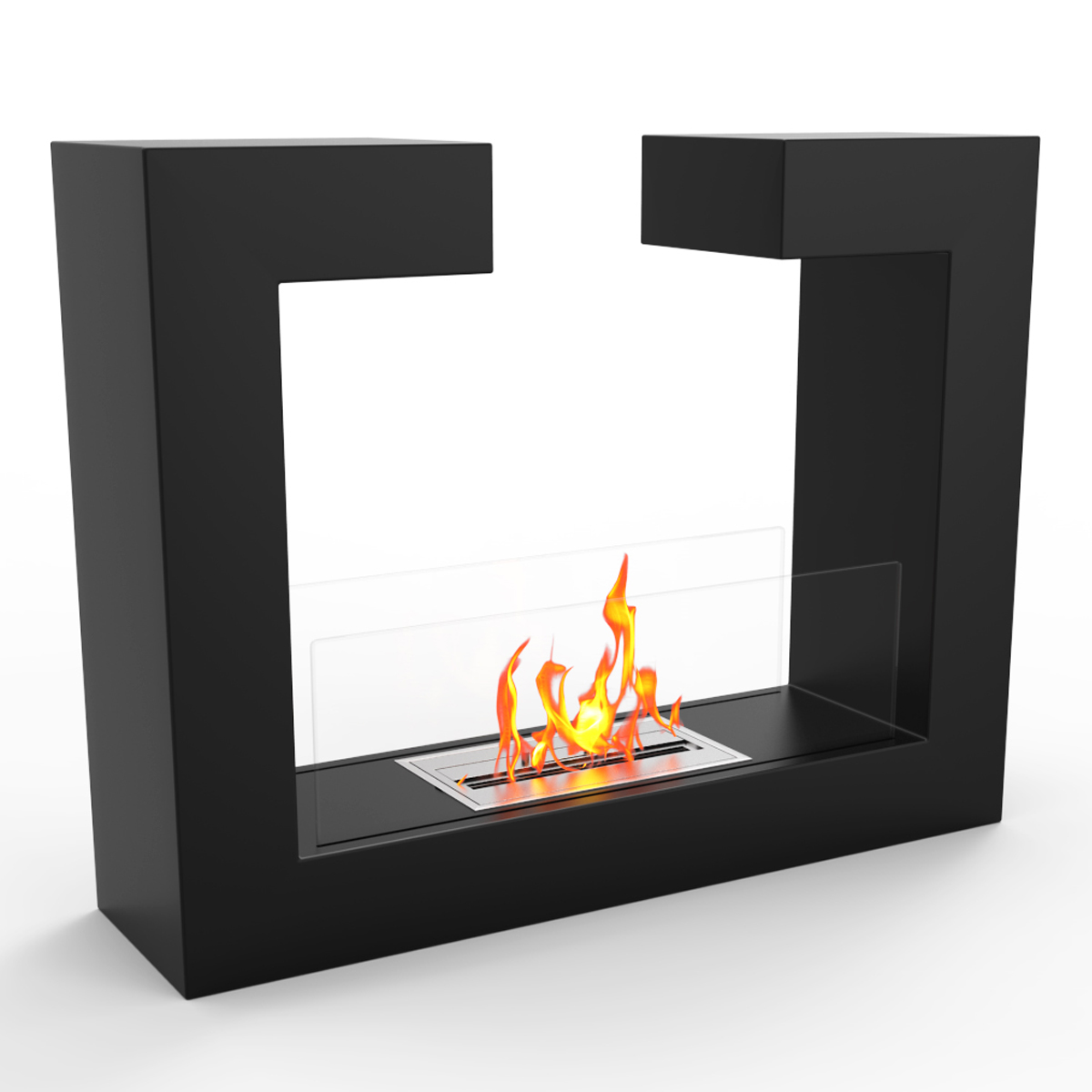 Ethanol Fireplaces Reviews Regal Flame Vinci Ventless Free Standing Ethanol Fireplace In Black