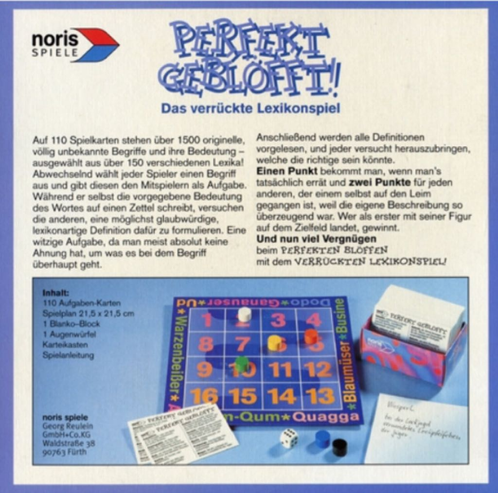 Perfekt G Perfekt Geblöfft Board Game Noris Spiele Bluffing Party Game
