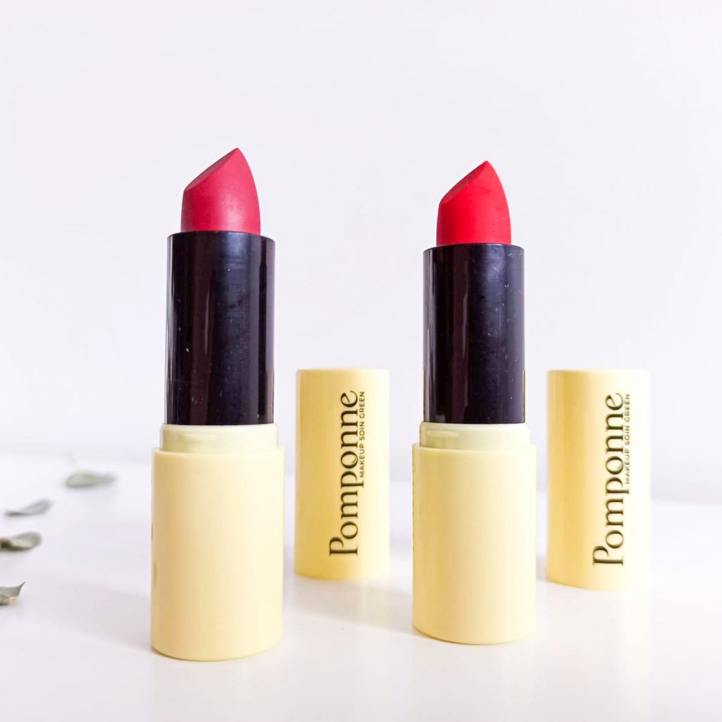 Deux rouges à lèvres naturels, hydratants, cruelty free, vegan, éco-responsables de la marque Pomponne make-up