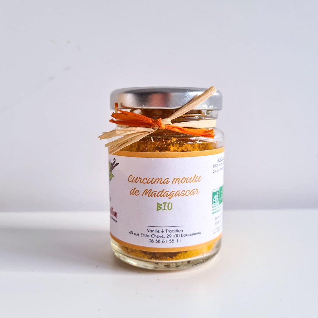 Pot en verre de curcuma moulu bio de la marque Vanille & Tradition