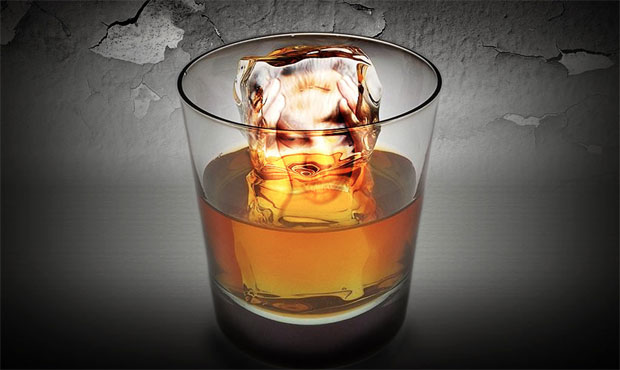 whiskey in glass