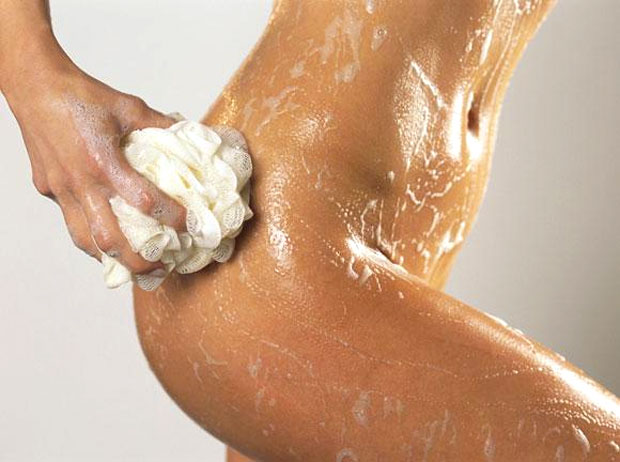 woman body with soap