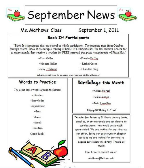 Digication e-Portfolio  Jessica Mathews-Templeman Professional - sample of school newsletters