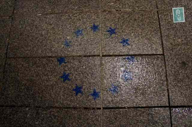 Stars on the ground European union stars