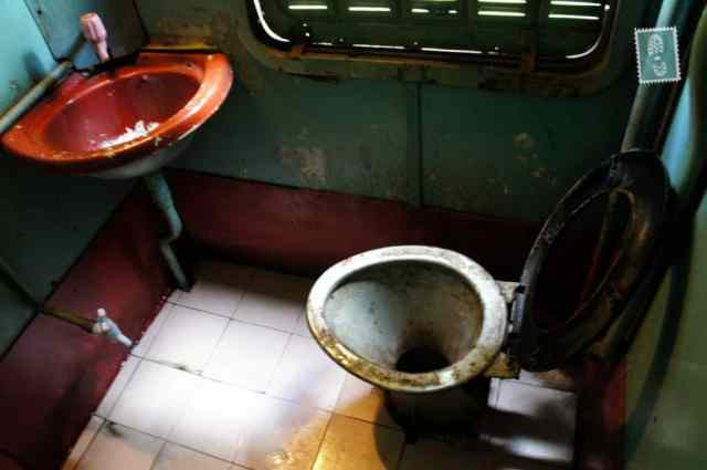 The toilet in one of Sri Lankan trains