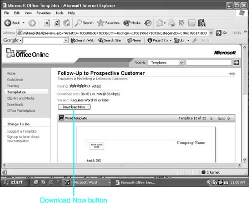Using Templates from Microsoft Office Online  Chapter 11