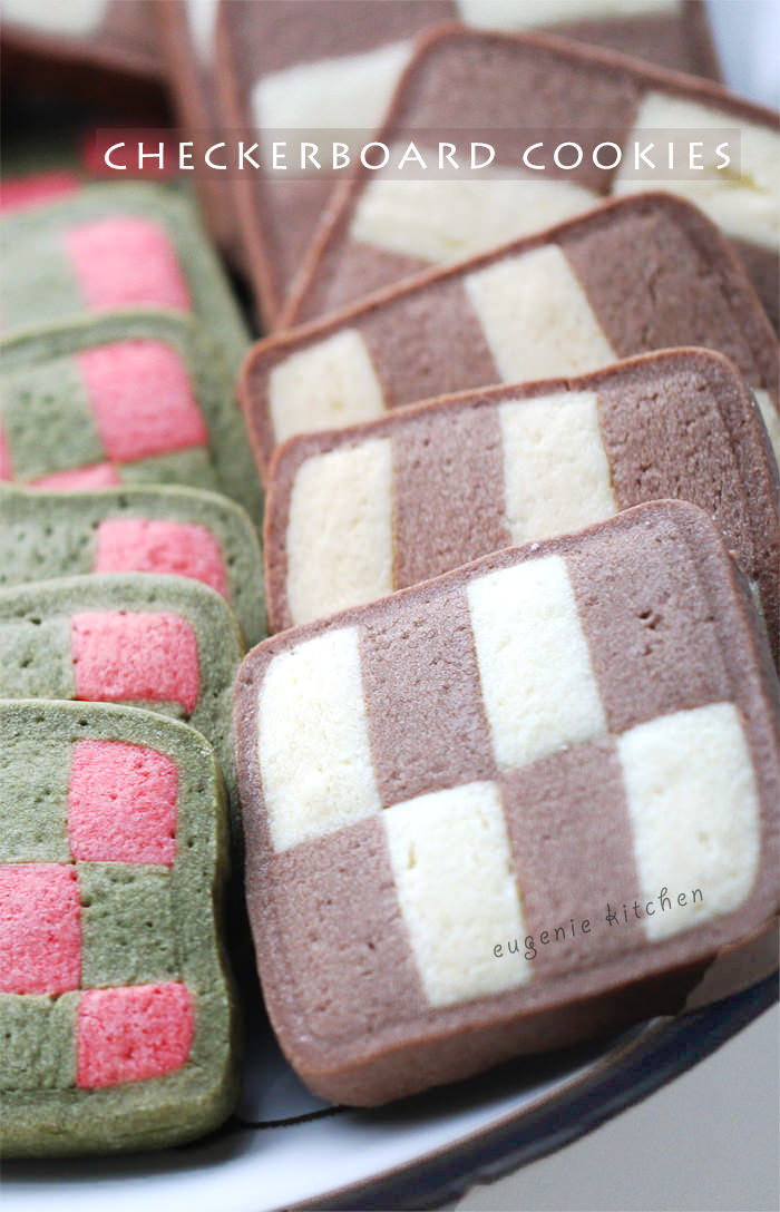 Checkerboard Cookies - red green chocolate vanilla for Christmas - Eugenie Kitchen