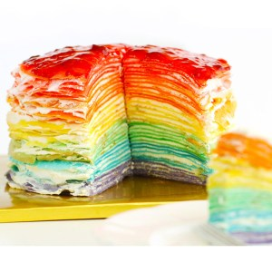 30-Layer Rainbow Mille Crepe Cake