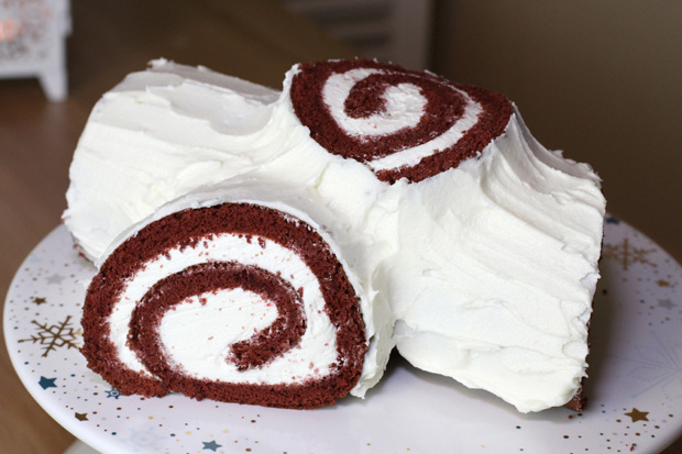 Red Velvet Yule Log Cake - Christmas Buche de Noel - Eugenie Kitchen