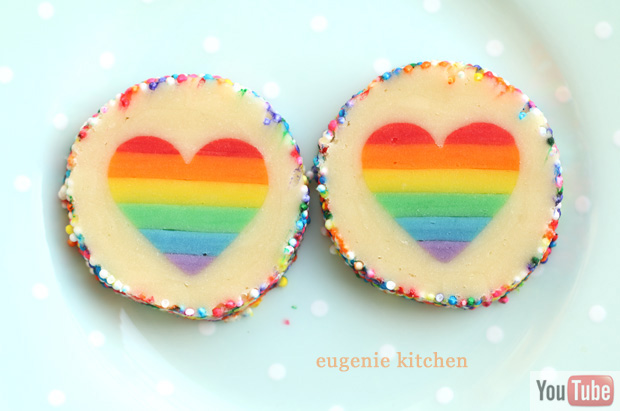 Valentine's Day Rainbow Heart Cookies - Eugenie Kitchen