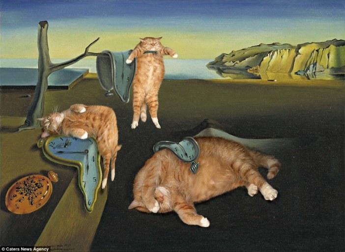 サルバドール・ダリの記憶の固執(柔らかい時計)と猫