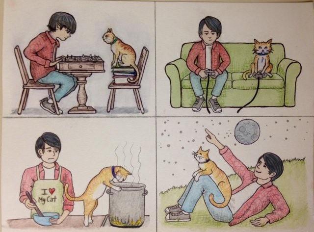猫と飼い主さんのイラスト