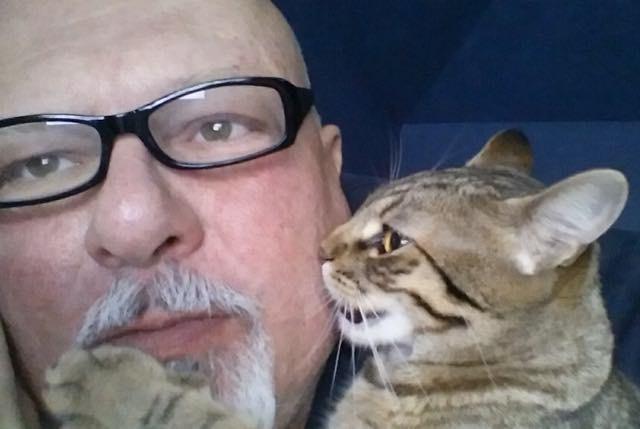 猫に噛まれる男性