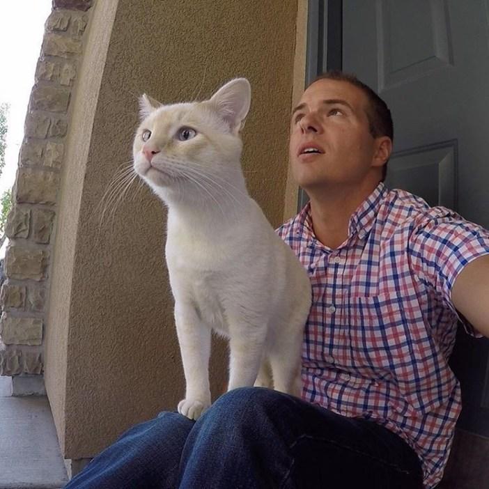 同じポーズの飼い主さんと猫