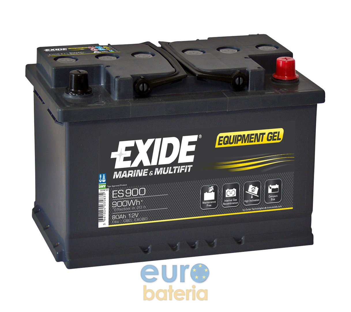 Voltage Auto Accu Batterie 12v 80ah Exide Gel Es900