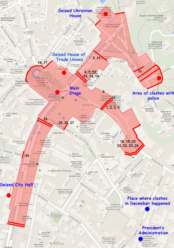 anatomy map Anatomy of Maidan. Virtual tour of the protesters grounds