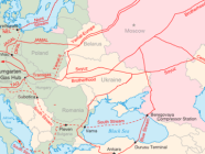 Map of the major existing and proposed Russian natural gas transportation pipelines to Europe. Photo: Samuel Bailey   via Wikimedia Commons