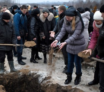 Funeral for a victim of the Russian-terrorist Grad strike on January 24, 2015