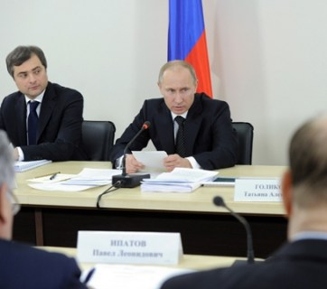 Putin and Surkov, 2012-02-15, Source: premier.gov.ru. via Wikimedia